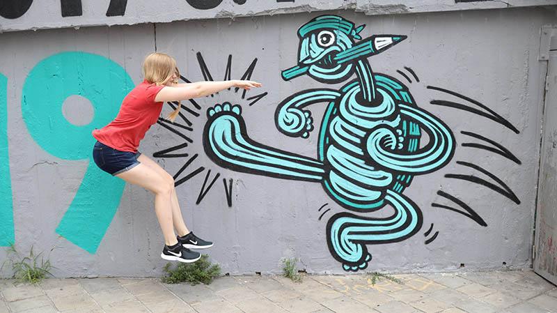 graffiti in bratislava tretende schildkröte